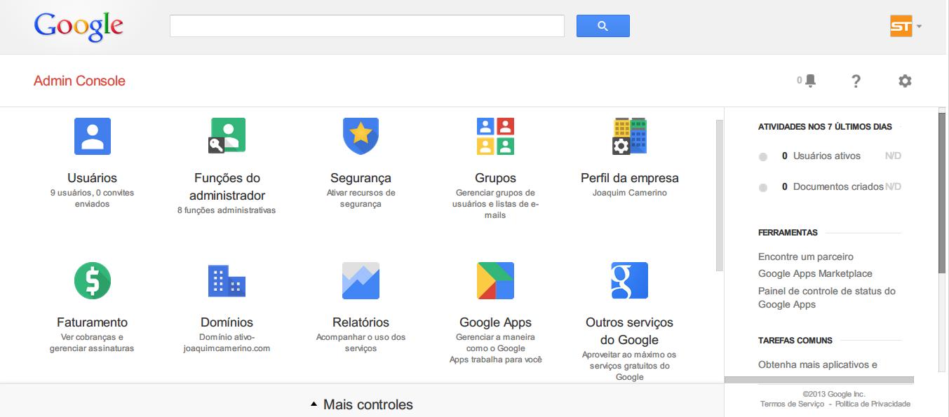 painel de controle Google