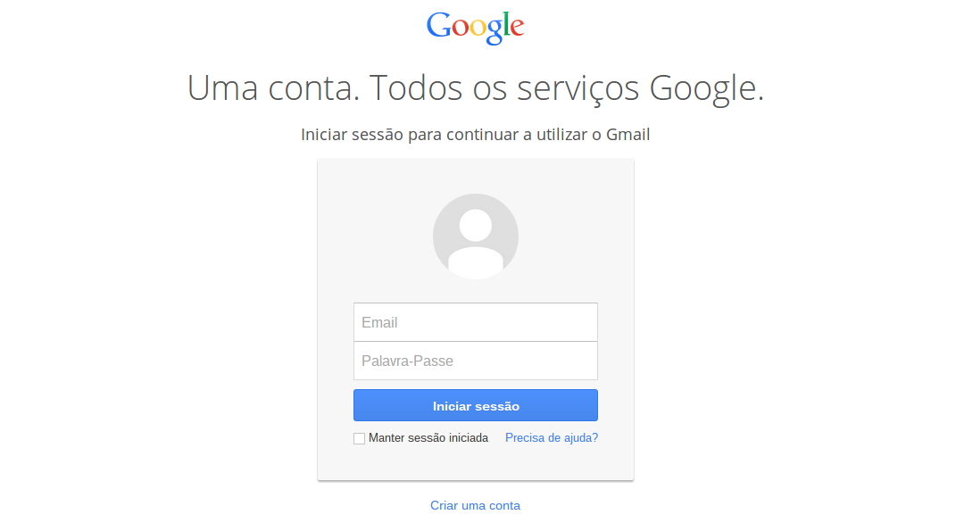 Nova página de login do Google Apps